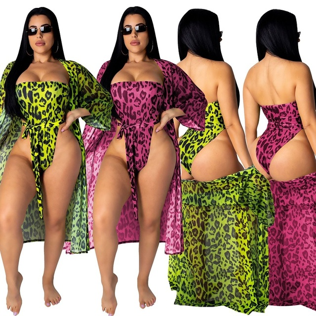 8221c24d96059 2019 New print leopard one piece swimsuit and beach cover ups sets sexy  women high cut