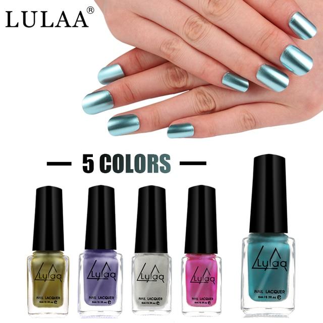 LULAA 6 ml esmalte de Uñas Metálica 5 Colores Más Nuevo Pegamento ...