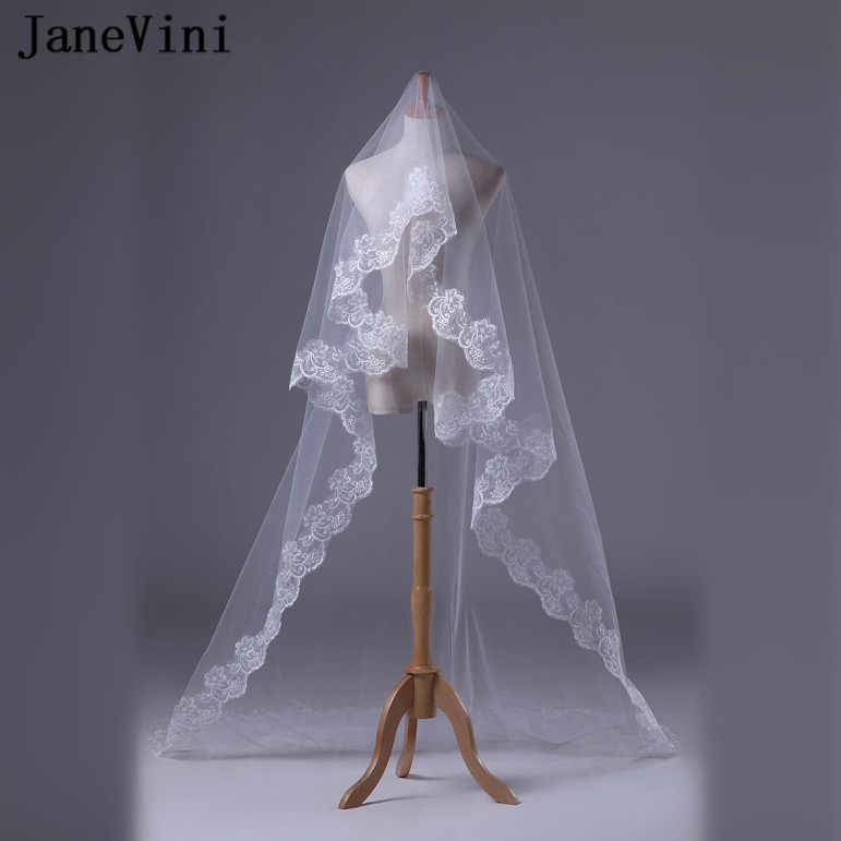 Janevini Lace Edge Ivory Cathedral Wedding Veil Long   Meters One Layer Bridal Veils Bride