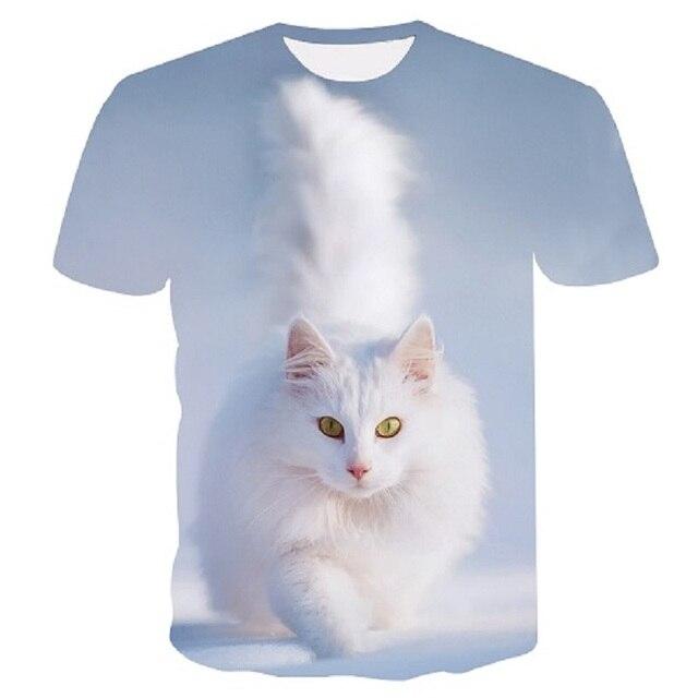 Off White Cat Stampa Maglietta Delle Donne Maglietta Casual Divertente T Shirt per La Signora Della Ragazza Top Tee Pantaloni a Vita Bassa Harajuku di Goccia la Nave Più Il Formato M 5XL