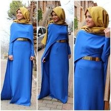 Blue Long Muslim Evening Dresses Hijab A Line Vestido De Festa Full Sleeves Floor Length Sash Simple Elegant