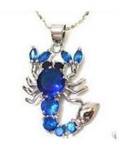 Jewelry blue jade opal crystal Scorpion Necklace Pendant gem chocker maxi undertale pingente sterling-silver-jewelry