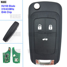 WALKLEE 315MHz/433MHz Remote Key fit for Chevrolet Aveo Cruze Malibu Sail Spark ID46 Chip Door Lock Controller 3 Buttons