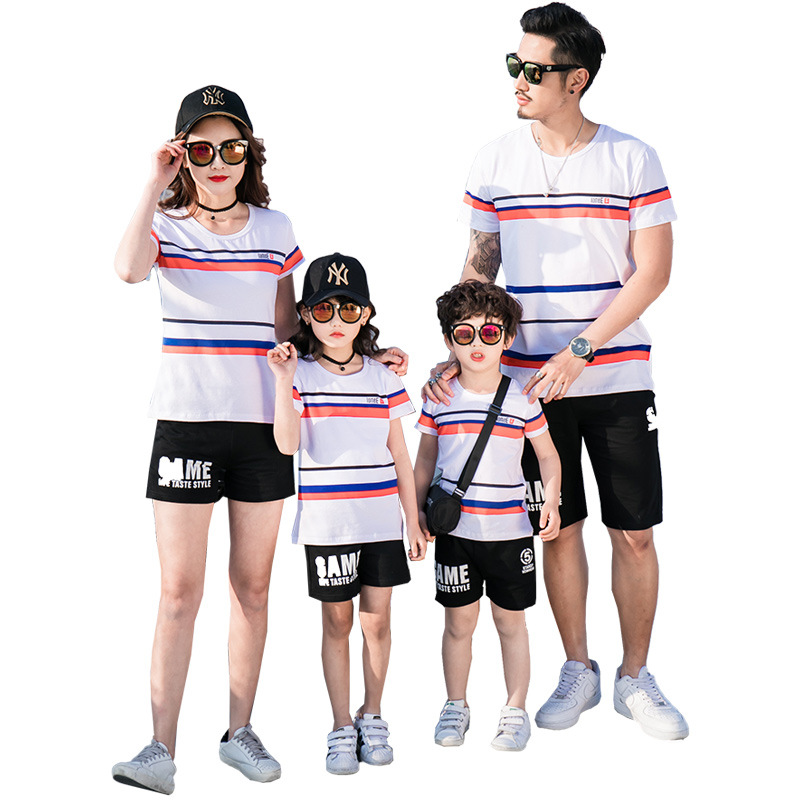 Father Mother Kids Matching Outfits Summer Striped Cotton T-