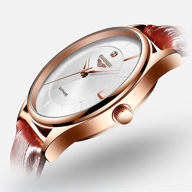 GUANQIN oro rosa para mujeres y hombres, reloj de cuarzo de negocios, reloj de pulsera de lujo para damas, reloj de pulsera para mujeres, reloj femenino - 3