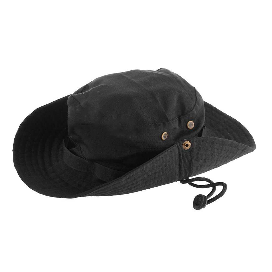408e5cb935ac3 Wide Brim Bucket Hat Black Fishing Camping Sunshade Hat Traveling Hiking  Bonnie Hat With Adjustable Straps Mens Sports Caps