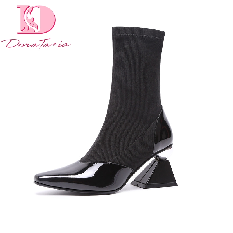 Doratasia brand design wholesale leather strange Heels elastic sock Boots Women Shoes Woman fashion Shoes Woman