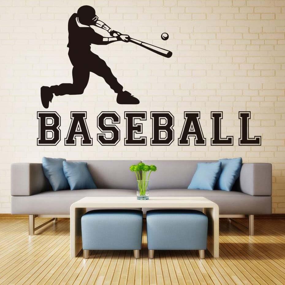 DCTOP Male Play Baseball Cartoon Wall Sticker For Kids Room Boy Bedroom Home Decor Decal