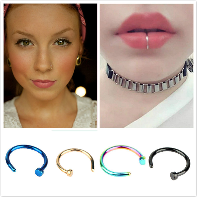 Tabique piercing plata Fake clip on anillo CZ multi cristales piercing nariz