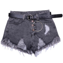 NiceMix 2019 New Summer Hot Shorts High Waist Hole Denim Women Plus Size Wide Leg Short Pants Slim Tassel Sexy
