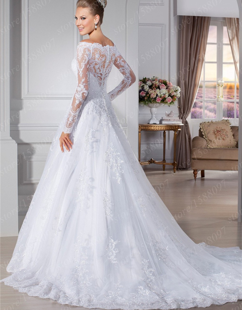 Custom Made Vestido De Noivas A Line Lace Wedding Dresses 2017 Full Sleeves Gowns With Court Train In From Weddings Events On
