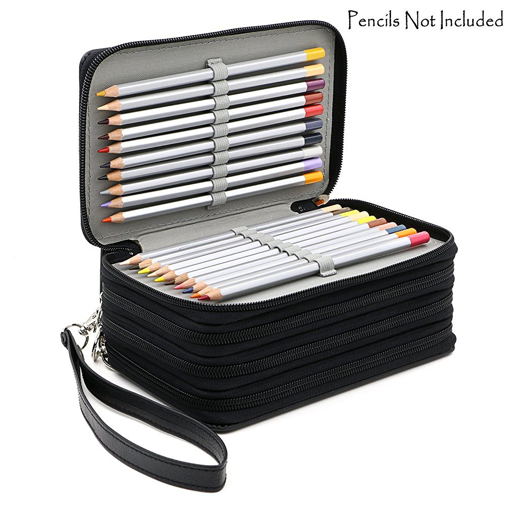 72 Holders 4 Layers Handy PU Leather School Pencils Case Large Capacity Colored Pencil Bag For Student Gift Art Supplies 124 slots 4 layers pencil bag case portable children school stationery big capacity for colored pencils student office supplies