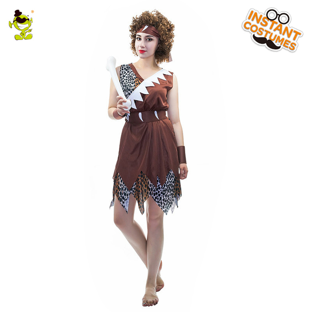 5d4c8cce0 Adult's Ancient Cavewoman costume Cave Girl Viking Stone Age Stag Fancy  Dress Costumes