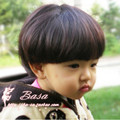 Children Short Full Lace Wigs with Full Bang Natural Straight Synthetic Hair Pieces Sweet Girl Mushroom Hairstyle for Props