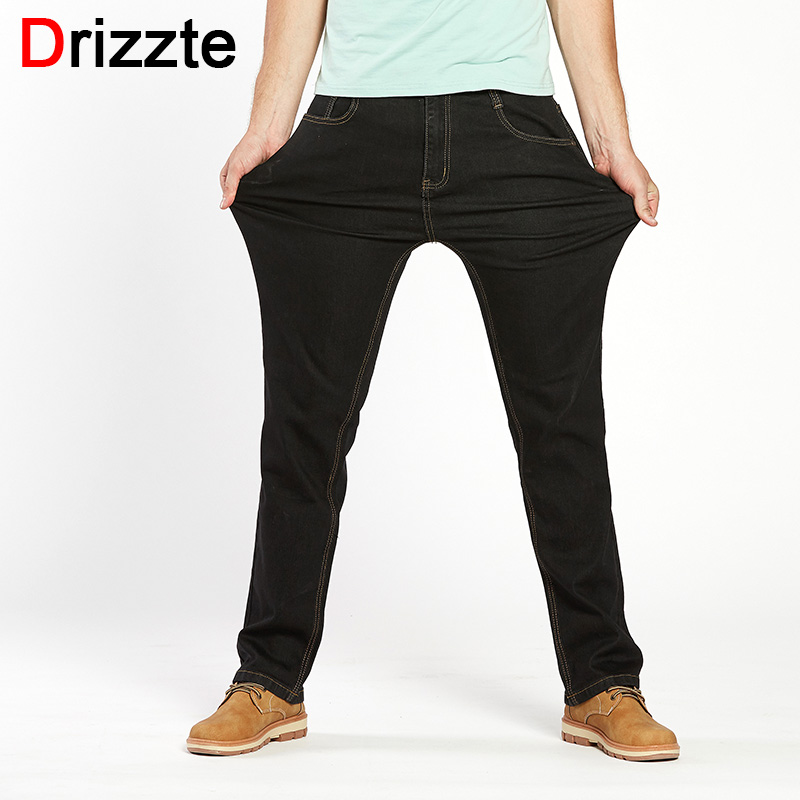 Drizzte Mens High Stretch Plus Size 42 44 46 48 Jeans Black Denim Business Jean Relax Business Work Trousers Lightweight Pants plus cashmere warm jean men 2017 new winter fashion cotton stretch feet pants clothing business denim trousers big size 44 46 48