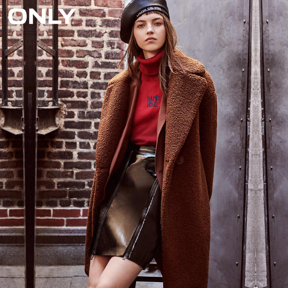 ONLY  womens' winter new lamb cashmere one-button cotton coat jacket Side pockets One-button design|118322512