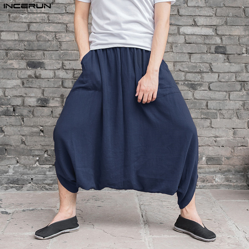 INCERUN Male Summer Fluid Big Crotch Pants Nepal Harem Pants Men Comfortable Cotton Linen Trousers Indian Baggy Pants Women 5XL