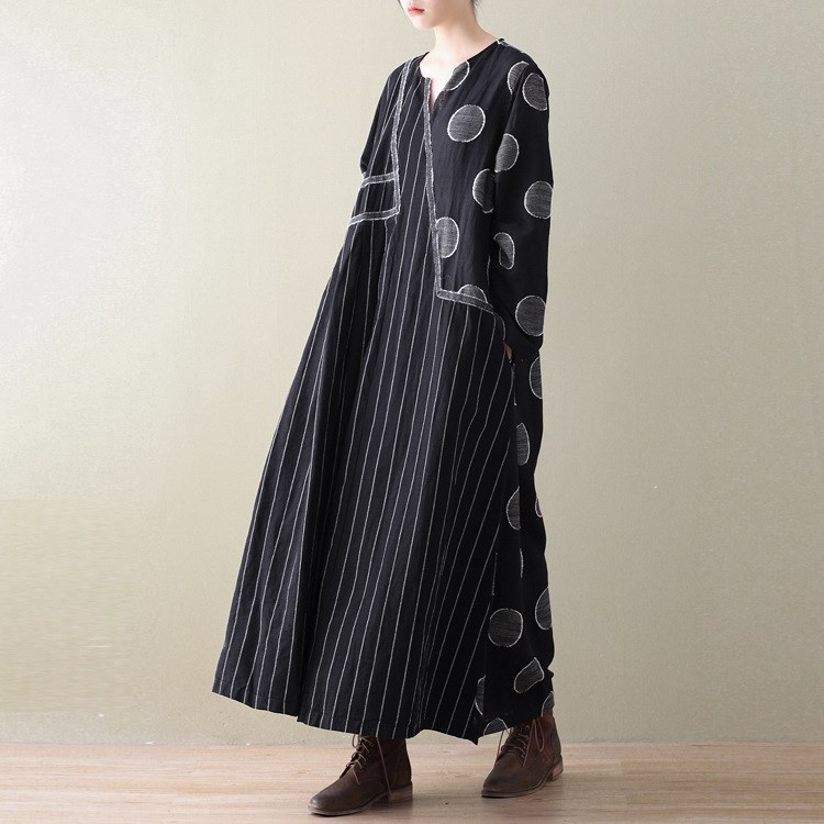 7acd2e24c44 New Long Sleeve Cotton Linen Maxi Dress Loose Big Size Striped Dots Vintage Dress  Casual Patchwork Long Printed Dresses