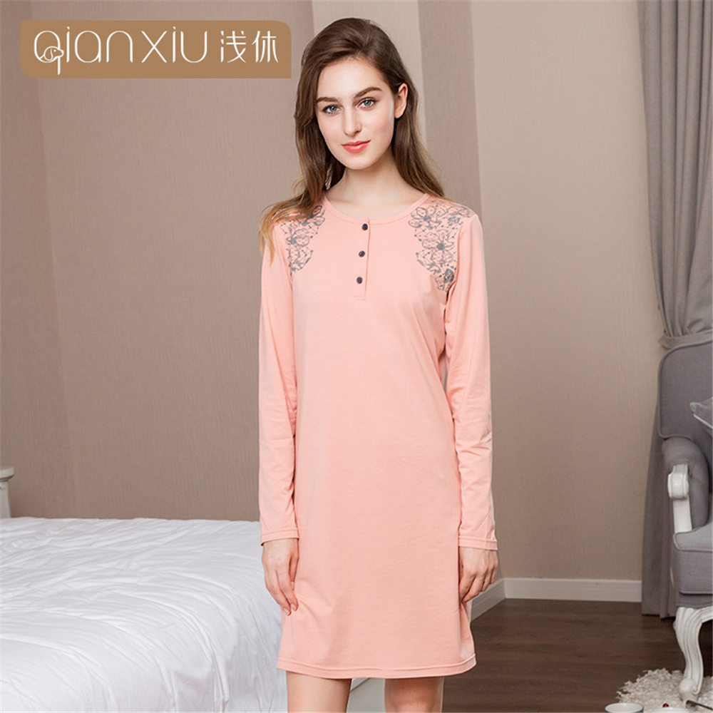 Qianxiu 2018 Autumn Cotton Women's nightgowns long-sleeve Elasticity printing sexy lingerie nightgowns & sleepshirts night dress