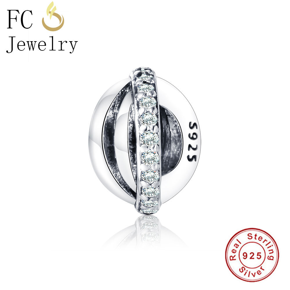 FC Jewelry Authentic 925 Sterling Silver Beads Round Spacer DIY Fit Original Pandora Charms Bracelets Berloque Women Gifts