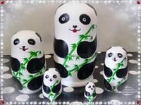 Tasteless Russian dolls genuine panda bamboo tree on the 5th floor set children's educational toys environmental gifts