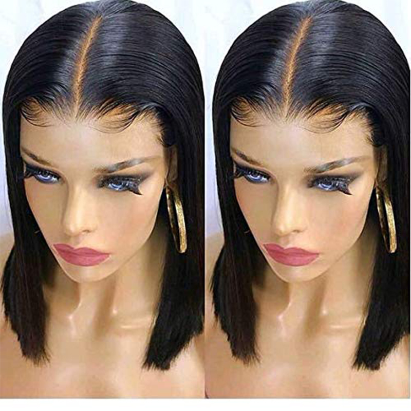 13x6 Lace Front Wig Short Bob Lace Front Human Hair Wigs For Women Black Straight Deep Part Glueless Wigs Ever Beauty Remy-in Human Hair Lace Wigs from Hair Extensions & Wigs    1