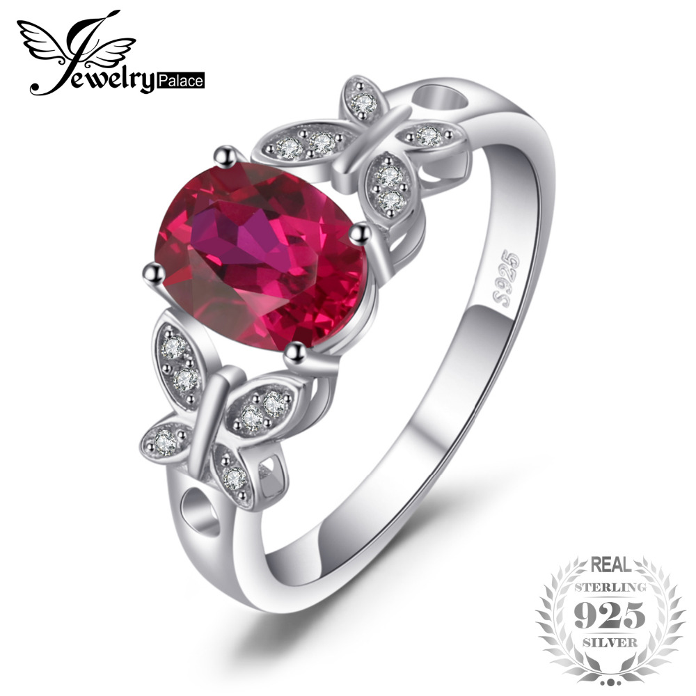 JewelryPalace Butterfly 1.8ct Oval Created Ruby Statement Ring 100% 925 Sterling Silver Rings For Women New Fashion Fine Jewelry