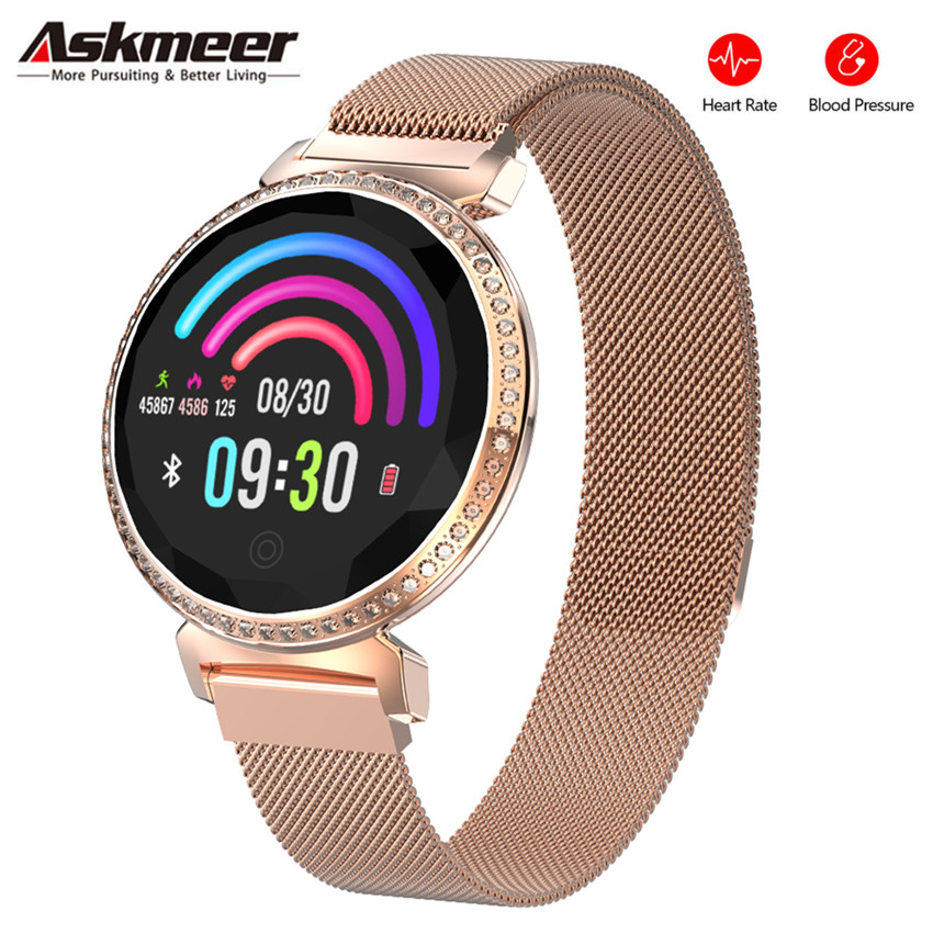 ASKMEER MC11 Women Smart Bracelet Luxury Rhinestone Smart Band Heart Rate Blood Pressure Monitor Female Message Reminder Watch-in Smart Watches from Consumer Electronics