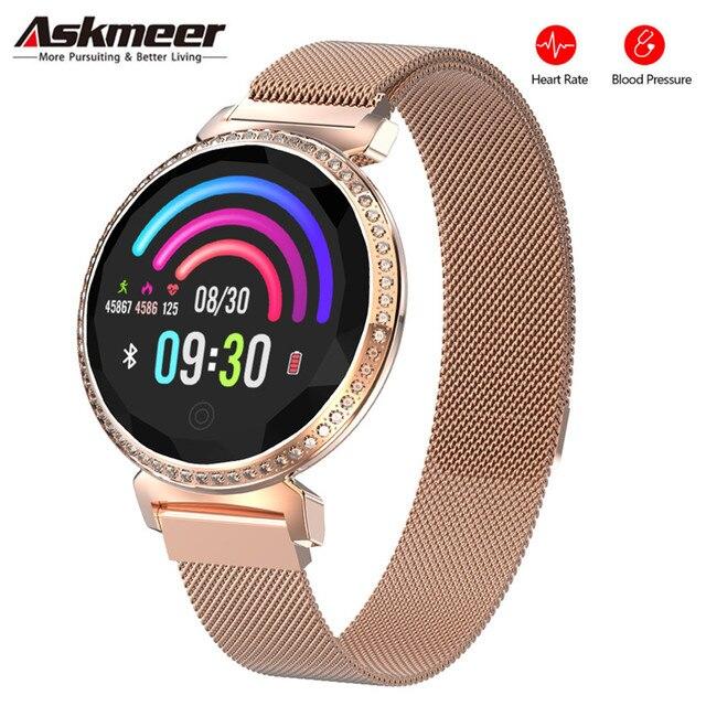 ASKMEER MC11 pulsera inteligente de lujo para mujer, con diamantes de imitación, control del ritmo cardíaco y de la presión sanguínea, reloj femenino con mensajes y recordatorios