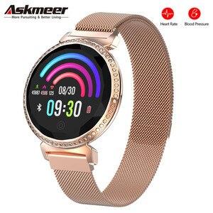 Image 1 - Женский Смарт браслет ASKMEER MC11, роскошные стразы, пульсометр, монитор кровяного давления, часы с напоминанием о сообщениях