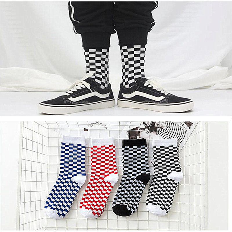 Cotton Socks Skateboard Men Harajuku-Style Checkerboard-Pattern Hip-Hop Plaid Street Fashion