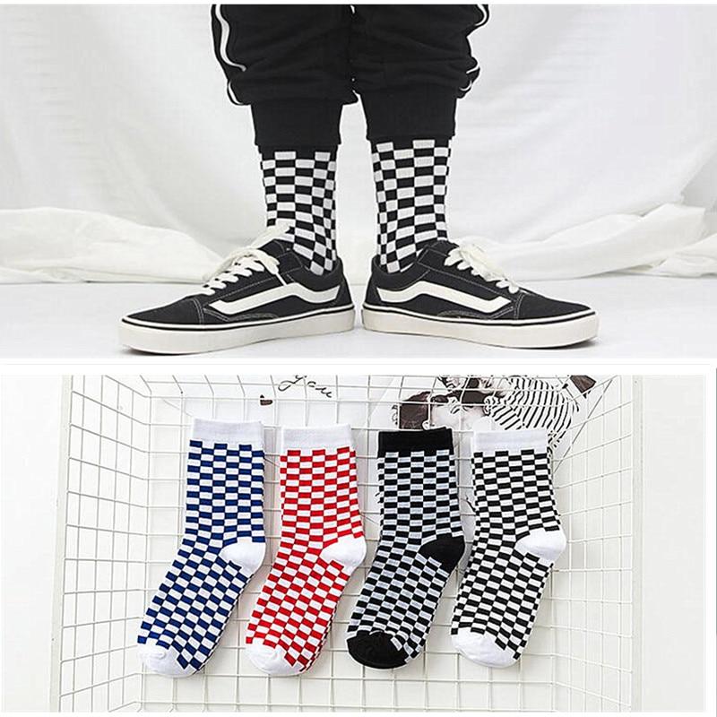Calcetines de algodón estilo Harajuku para hombre y mujer, medias divertidas de estilo hip hop para monopatín, con patrón a cuadros