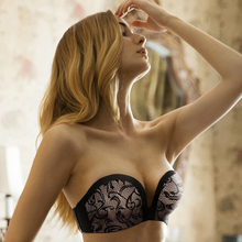 strapless bra for wedding dresses push up bra for women wireless lace brassiere low-cut invisible bra backless solid underwear