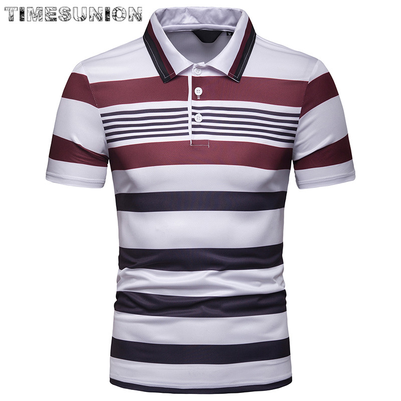 Top Grade New Fashion Men   Polo   Shirt Stripe Slim Fit   Polo   Men Short Sleeve Mercerized Cotton Casual   Polos   Shirt Mens