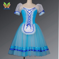 Женская синяя деревенская романтическая балетная юбка пачка для девочек, классические балетные пачки «Лебединое озеро», «Щелкунчик», изго