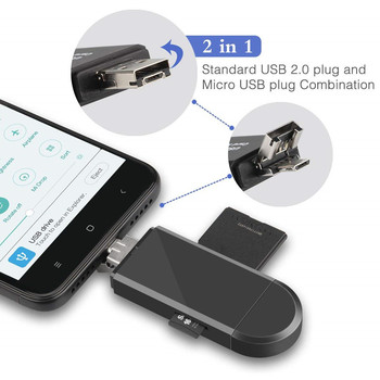 3 In 1 Micro USB to USB Type C OTG Card Adapter USB 2.0 Memory Card Reader For SDXC, SDHC, SD, Micro SD, Micro SDXC, Micro SDHC