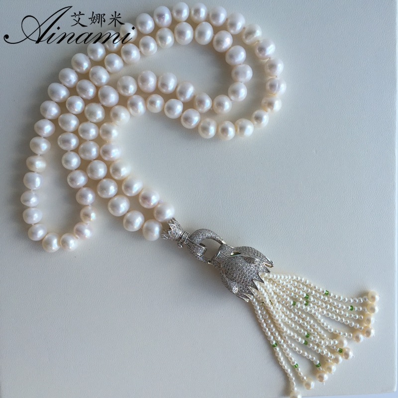[Ainami] sweater chain Long Pearl Necklace Freshwater Pearl Tassel Pearl Necklace Pearl Jewelry for christmas gift free shipping