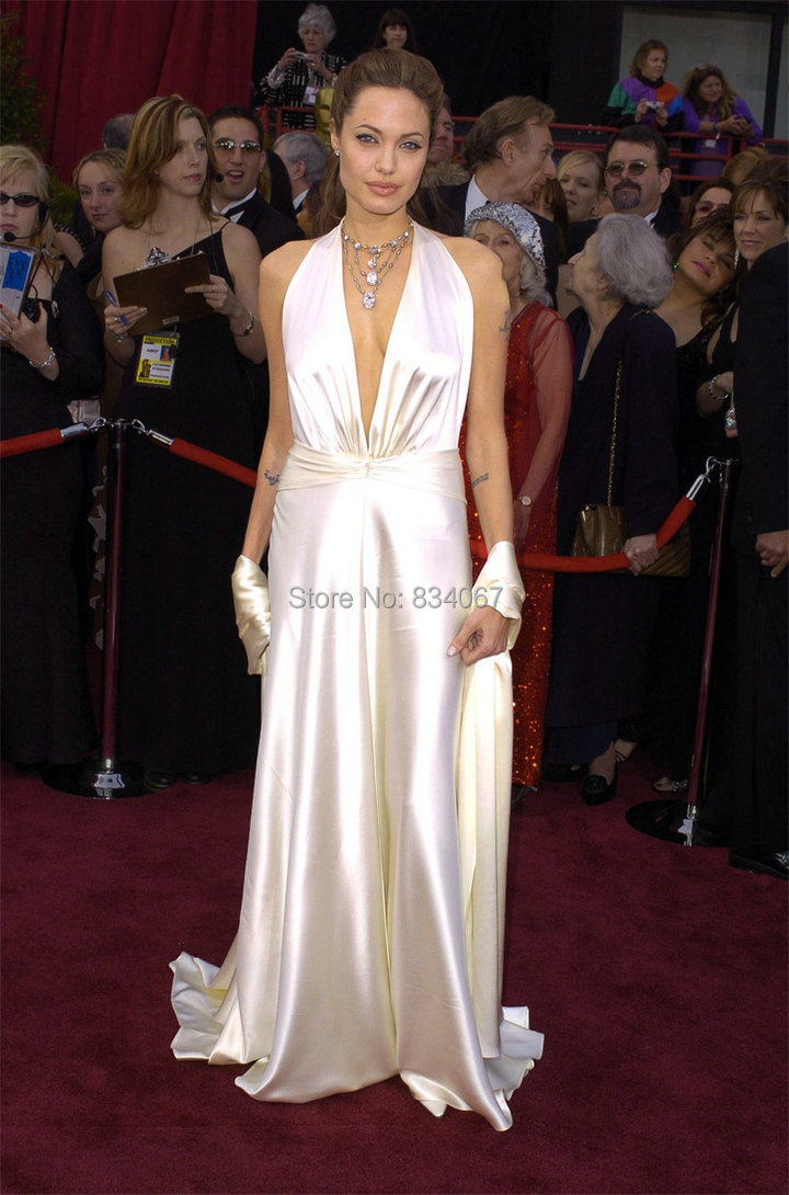 2017 New Collection Angelina Jolie Long Women Satin Prom Gown Halter Evening Party Dress In