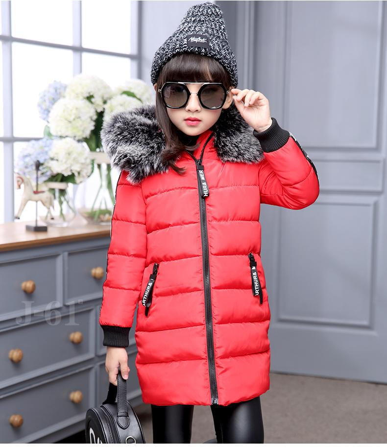 New Winter Girls Down Jackets With Big Fur Hooded Raccoon fur White Duck Down Coats Kids Children Down Parka Outwear Wax Clothes winter fashion kids girls raccoon fur coat baby fur coats