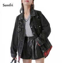 Semfri Womens Denim Jacket 2019 Black Jeans Autumn Winter Coat Casual Harajuku Streetwear Loose Pockets Windbreaker