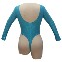 Turquoise Pole Dancing Women leotard Long Sleeve Thong Low Back NylonLycra Spotted Pattern Sexy Bodysuit