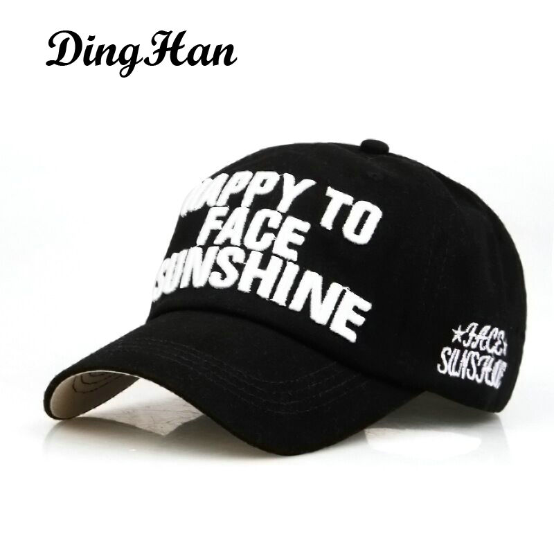 [DingHan] NEW Baseball Cap Men Summer Hats For Women Embroidery HAPPY TO FACE SUNSHINE Bone Snapback Caps Casquette De Marque 2016 new new embroidered hold onto your friends casquette polos baseball cap strapback black white pink for men women cap
