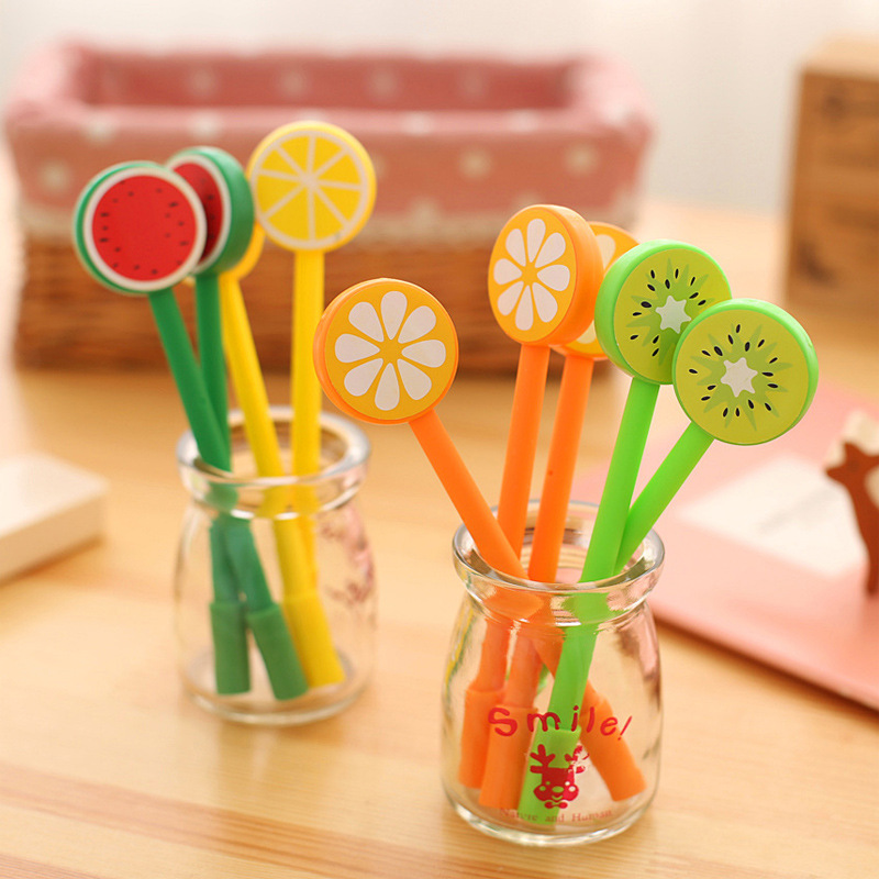 US $0 15 |1 Pcs Creative Cartoon Fruit Lollipops Gel Pen Good Quality  Refill Black 0 5mm Office and School Supplies-in Gel Pens from Office &  School