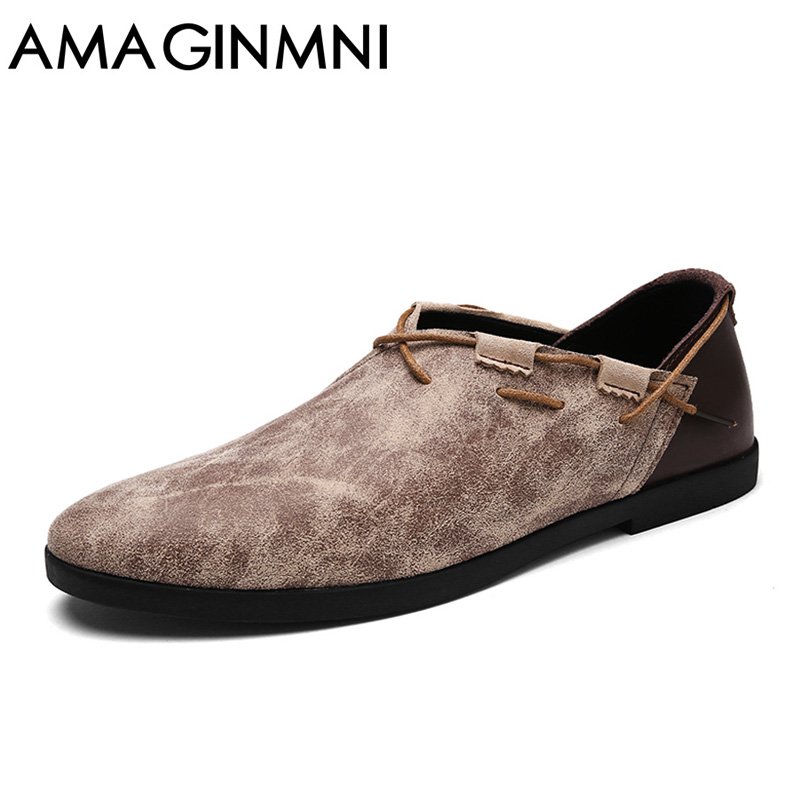AMAGINMNI Men Casual Shoes 2018 Spring Breathable Shoes Men Concise Soft Casual Flat Fashion Men's Loafers Shoes Trend style tept79001 trend ready letters casual style
