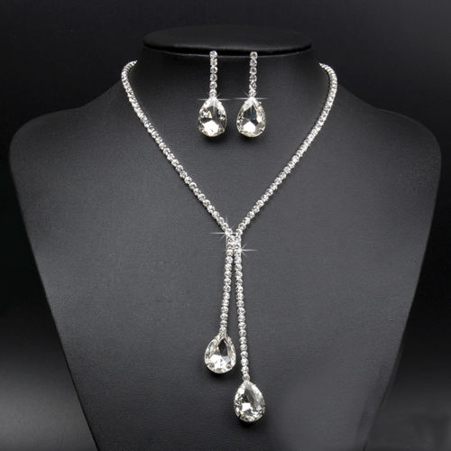 Fashion Wedding Bridal Rhinestone Crystal Jewellery Set Necklace and Earring Set