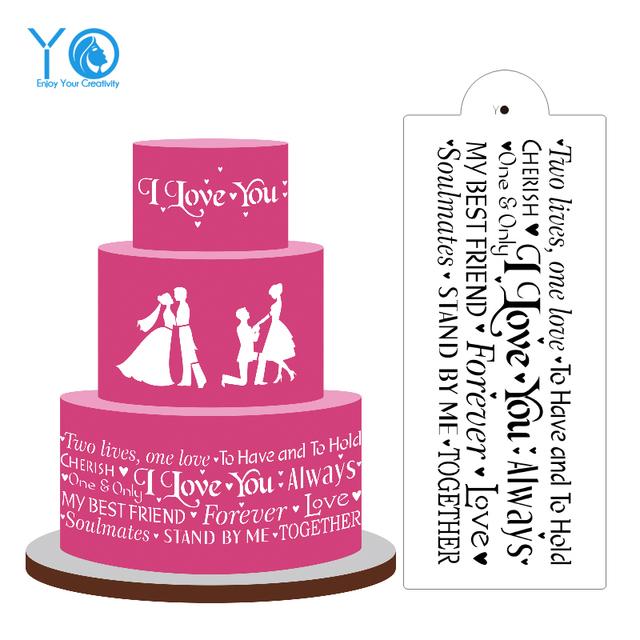 I Love You Cake Stencil Design For Wedding Cake Decorating
