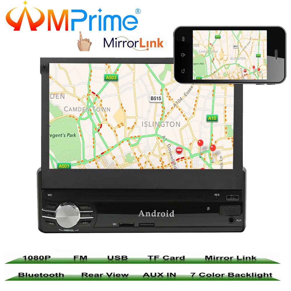 "AMprime 7"" 1 din Car Multimedia Video Play Android 6.0 Touch Screen Car Radio Audio Stereo GPS Wifi BT USB FM Rear View Camera"
