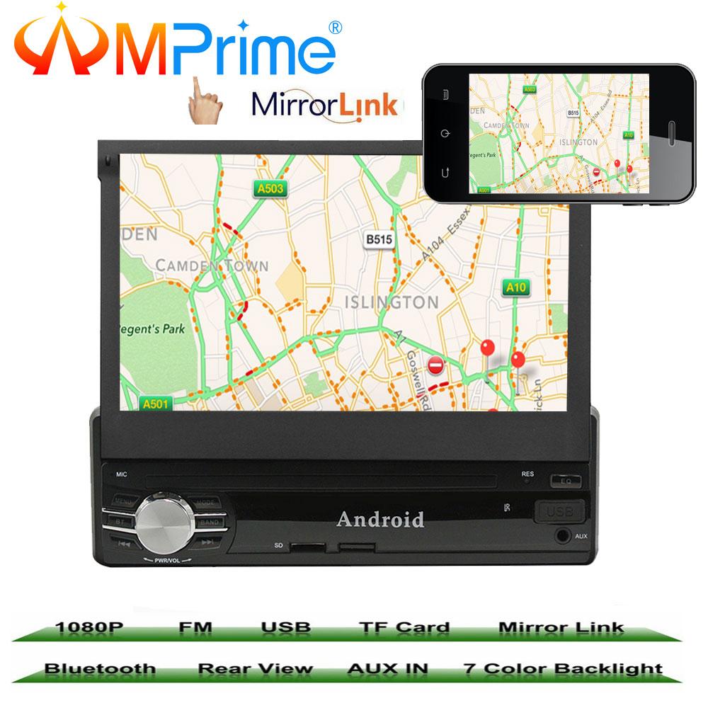 AMprime 7 1 din Voiture Multimédia Vidéo Jouer Android 6.0 Écran Tactile Voiture Radio Audio Stéréo GPS Wifi BT USB FM Arrière Vue Caméra