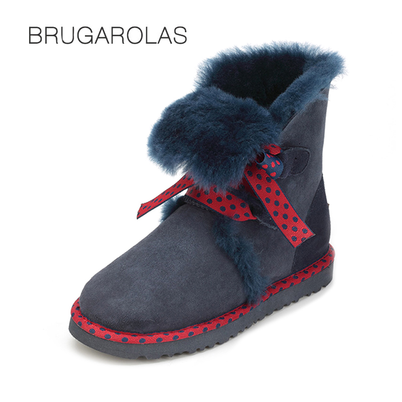 2017 Hot Selling Top Quality Genuine Sheepskin Snow Boots Waterproof Leather Short  Winter Natural Fur Warm Shoes For Women top quality fashion women ankle snow boots genuine sheepskin leather boots 100% natural fur wool warm winter boots women s boots