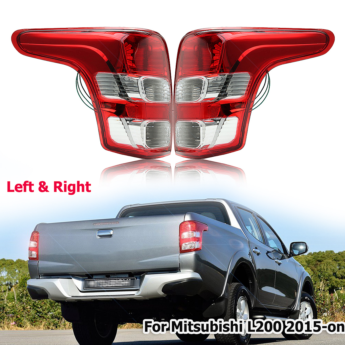 Rear Tail Light Lamp Left + Right Side for Mitsubishi L200 for Triton for Fiat Strada 2015-up high quality chrome tail light cover for mitsubishi l200 triton free shipping